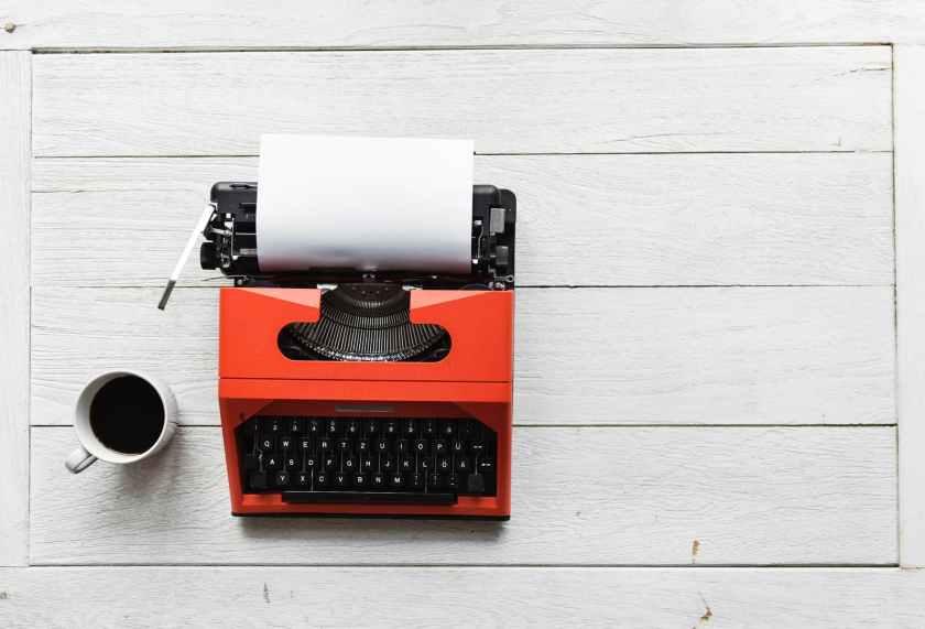 red and black typewriter